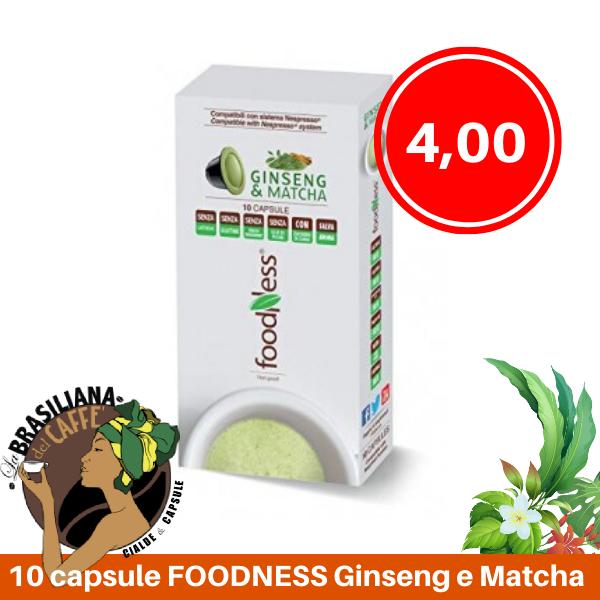 10 Capsule Foodness Ginseng E Matcha Compatibili Nespresso La Brasiliana Del Caffe