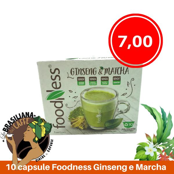 10 Capsule Foodness Ginseng E Matcha Compatibili Dolce Gusto La Brasiliana Del Caffe